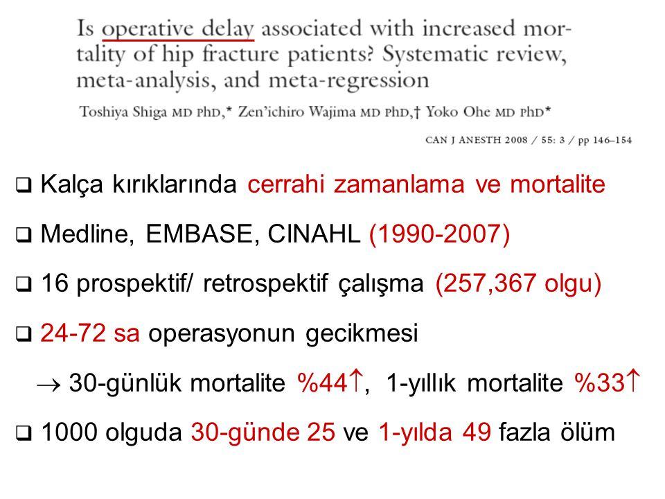  Kalça kırıklarında cerrahi zamanlama ve mortalite  Medline, EMBASE, CINAHL (1990-2007)  16 prospektif/ retrospektif çalışma (257,367 olgu)  24-72