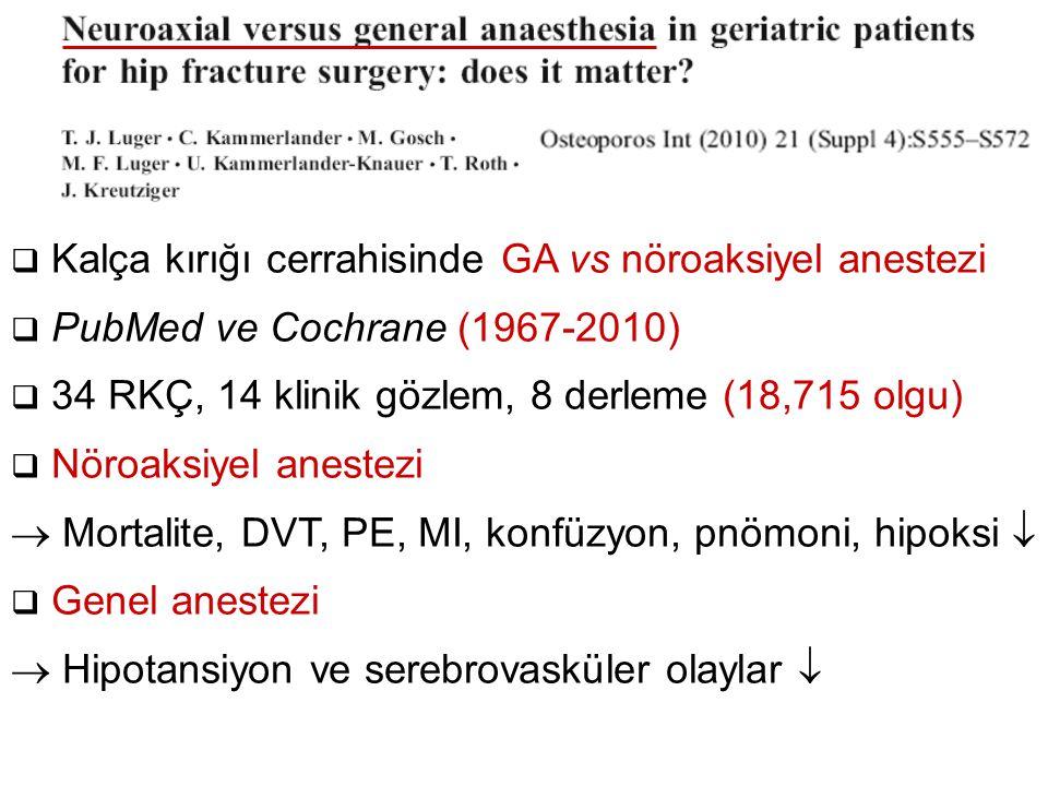  Kalça kırığı cerrahisinde GA vs nöroaksiyel anestezi  PubMed ve Cochrane (1967-2010)  34 RKÇ, 14 klinik gözlem, 8 derleme (18,715 olgu)  Nöroaksi