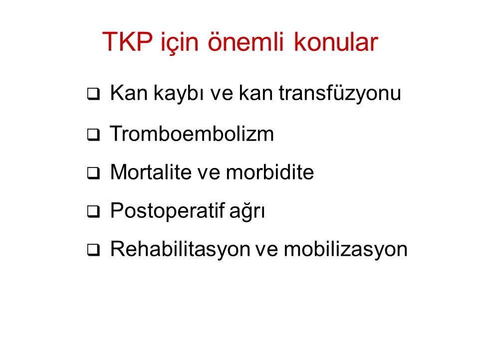  Kan kaybı ve kan transfüzyonu  Tromboembolizm  Mortalite ve morbidite  Postoperatif ağrı  Rehabilitasyon ve mobilizasyon TKP için önemli konular