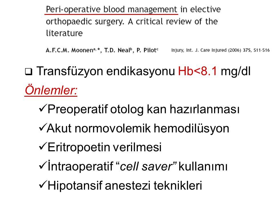  Kalça kırığı cerrahisinde GA vs nöroaksiyel anestezi  PubMed ve Cochrane (1967-2010)  34 RKÇ, 14 klinik gözlem, 8 derleme (18,715 olgu)  Nöroaksiyel anestezi  Mortalite, DVT, PE, MI, konfüzyon, pnömoni, hipoksi   Genel anestezi  Hipotansiyon ve serebrovasküler olaylar 