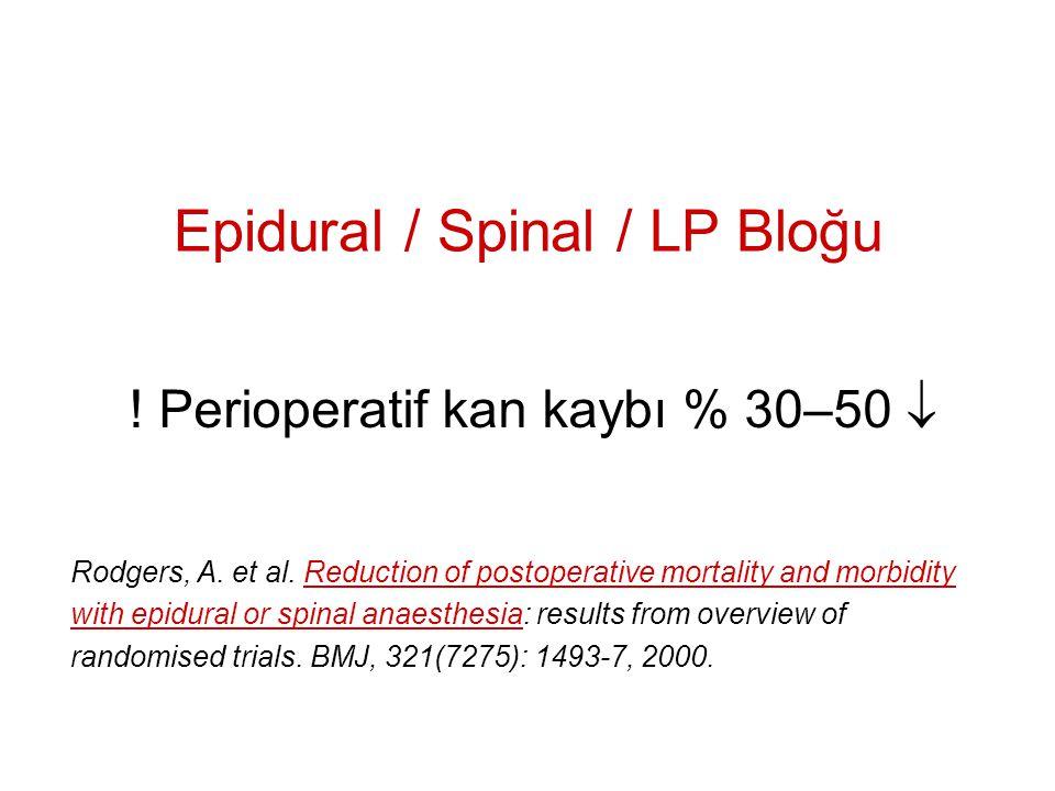 Hipotansif Anestezi  OAB <50 mmHg ise kan kaybı % 30-50   İntraop.