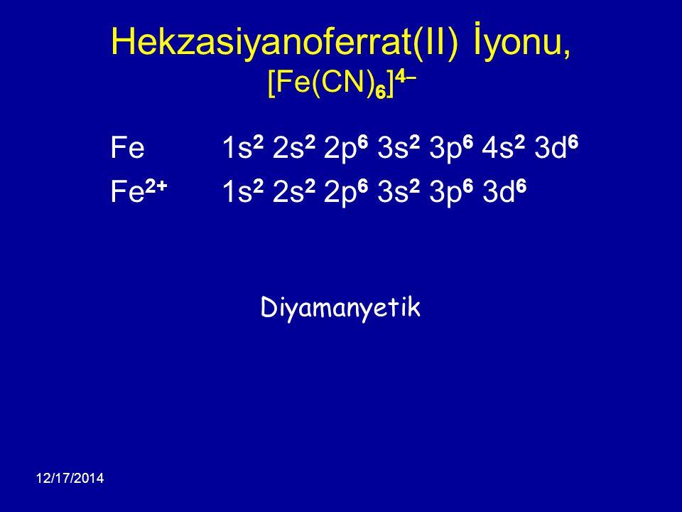 12/17/2014 Hekzasiyanoferrat(II) İyonu, [Fe(CN) 6 ] 4 ¯ Fe 1s 2 2s 2 2p 6 3s 2 3p 6 4s 2 3d 6 Fe 2+ 1s 2 2s 2 2p 6 3s 2 3p 6 3d 6 Diyamanyetik