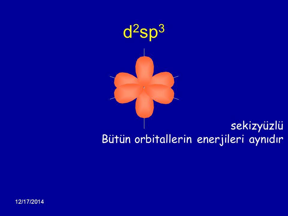 12/17/2014 d 2 sp 3 sekizyüzlü Bütün orbitallerin enerjileri aynıdır
