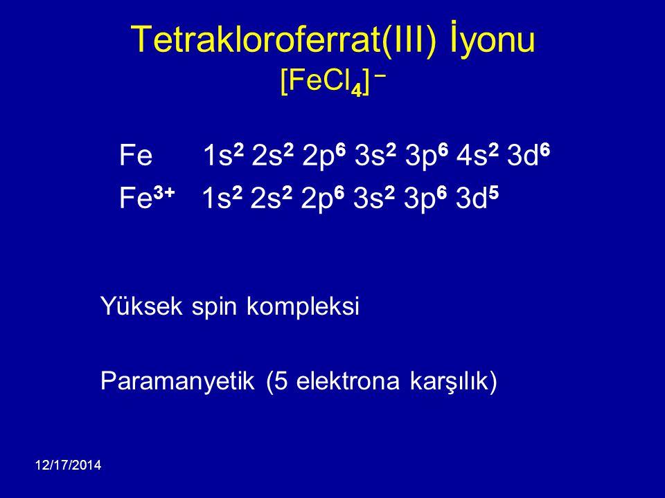 12/17/2014 Tetrakloroferrat(III) İyonu [FeCl 4 ] – Yüksek spin kompleksi Paramanyetik (5 elektrona karşılık) Fe 1s 2 2s 2 2p 6 3s 2 3p 6 4s 2 3d 6 Fe