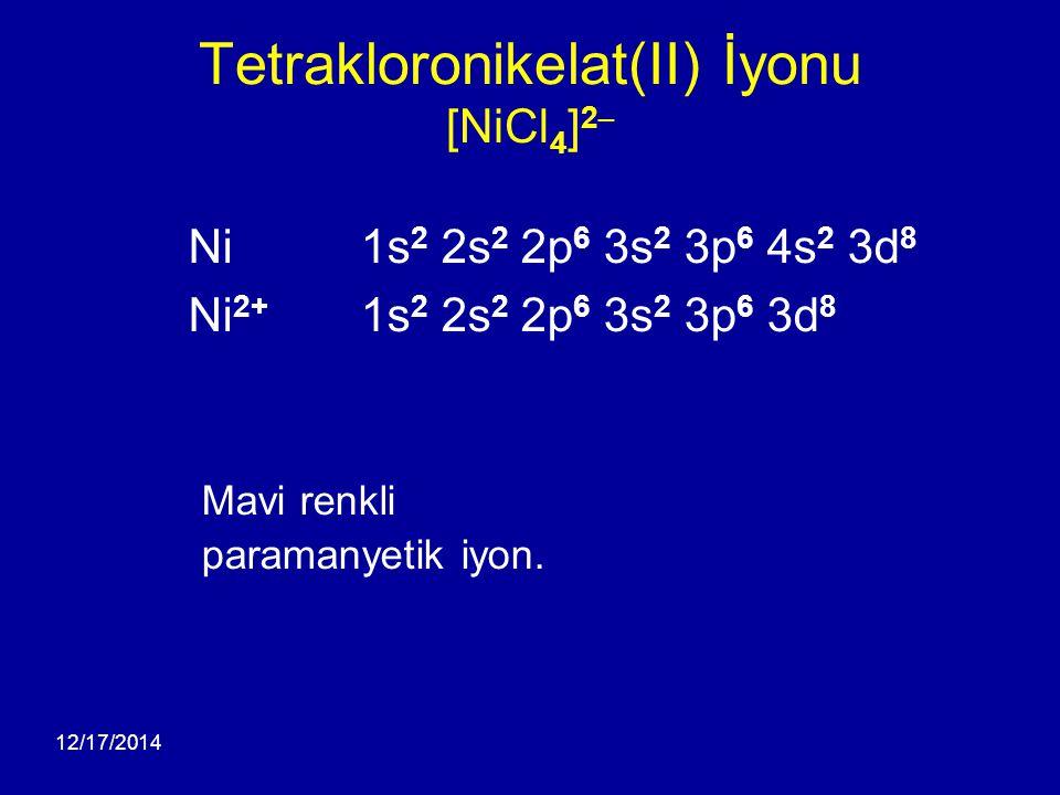 12/17/2014 Tetrakloronikelat(II) İyonu [NiCl 4 ] 2 – Ni 1s 2 2s 2 2p 6 3s 2 3p 6 4s 2 3d 8 Ni 2+ 1s 2 2s 2 2p 6 3s 2 3p 6 3d 8 Mavi renkli paramanyeti
