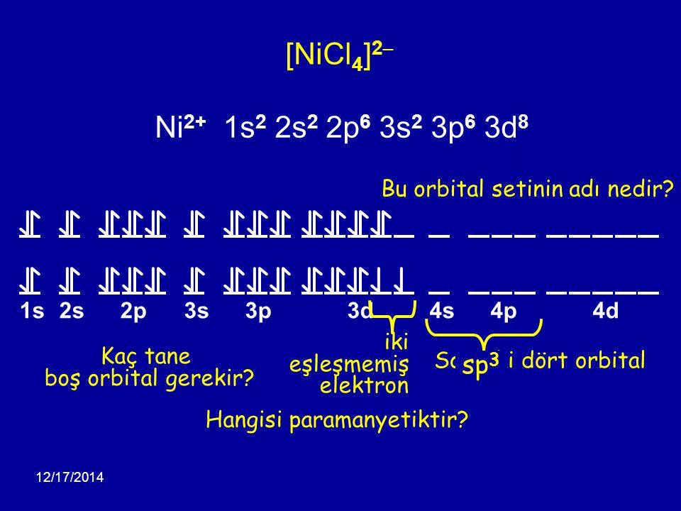 12/17/2014 1s2s2p3s3p3d4s4p4d [NiCl 4 ] 2 – Ni 2+ 1s 2 2s 2 2p 6 3s 2 3p 6 3d 8 Hangisi paramanyetiktir? Kaç tane boş orbital gerekir? Sonraki dört or