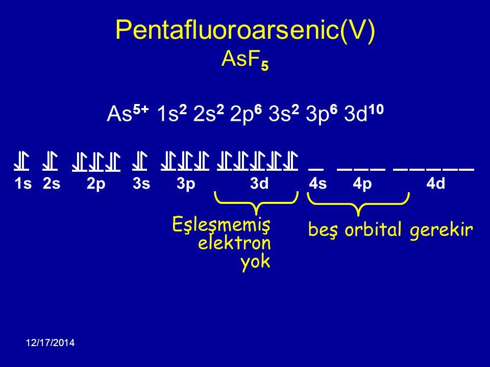 12/17/2014 Pentafluoroarsenic(V) AsF 5 1s2s2p3s3p3d4s4p4d As 5+ 1s 2 2s 2 2p 6 3s 2 3p 6 3d 10 beş orbital gerekir Eşleşmemiş elektron yok