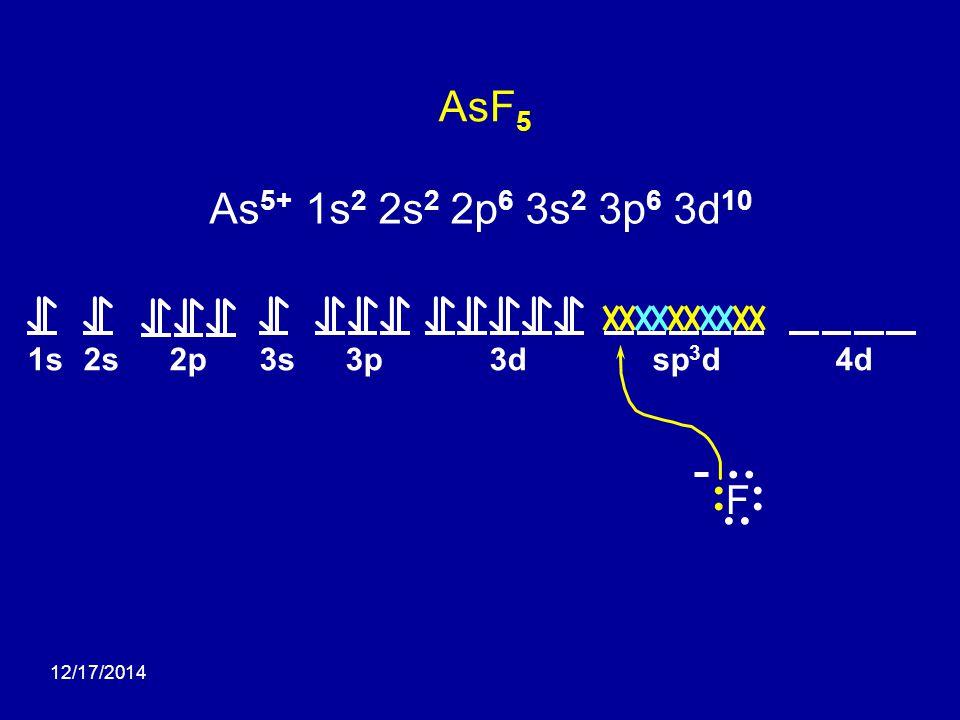 12/17/2014 AsF 5 1s2s2p3s3p3d4dsp 3 d F As 5+ 1s 2 2s 2 2p 6 3s 2 3p 6 3d 10