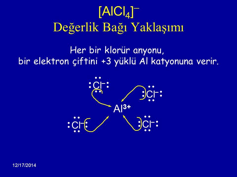 12/17/2014 [AlCl 4 ] ¯ Değerlik Bağı Yaklaşımı Her bir klorür anyonu, bir elektron çiftini +3 yüklü Al katyonuna verir. Al 3+ Cl – Cl – Cl – Cl –
