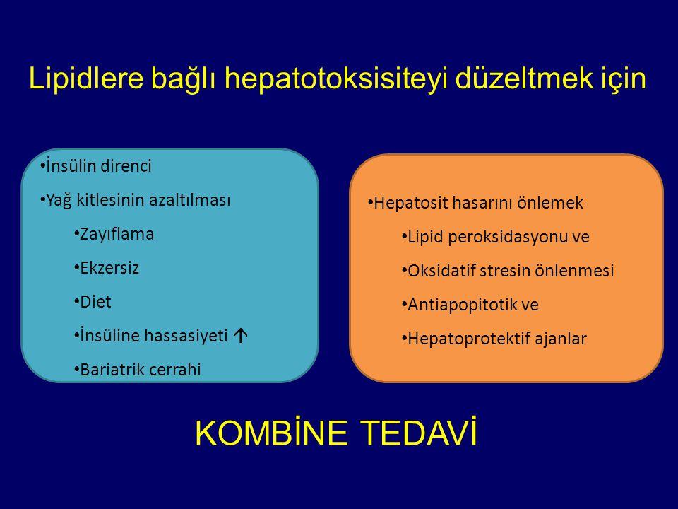 Lipidlere bağlı hepatotoksisiteyi düzeltmek için İnsülin direnci Yağ kitlesinin azaltılması Zayıflama Ekzersiz Diet İnsüline hassasiyeti  Bariatrik cerrahi Hepatosit hasarını önlemek Lipid peroksidasyonu ve Oksidatif stresin önlenmesi Antiapopitotik ve Hepatoprotektif ajanlar KOMBİNE TEDAVİ