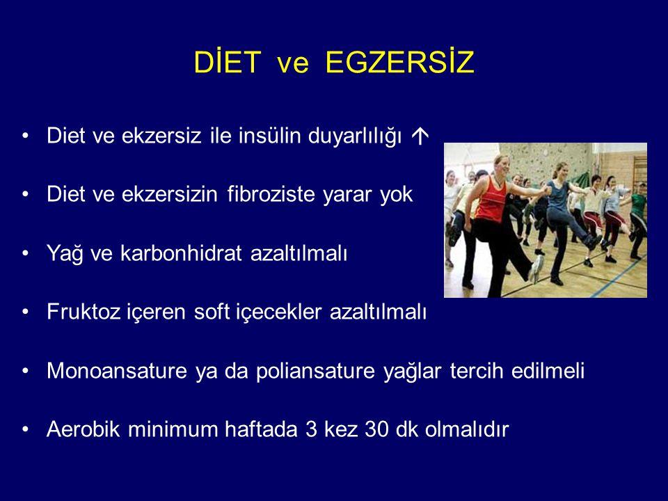 DİET ve EGZERSİZ Diet ve ekzersiz ile insülin duyarlılığı  Diet ve ekzersizin fibroziste yarar yok Yağ ve karbonhidrat azaltılmalı Fruktoz içeren soft içecekler azaltılmalı Monoansature ya da poliansature yağlar tercih edilmeli Aerobik minimum haftada 3 kez 30 dk olmalıdır