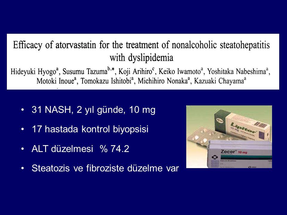 31 NASH, 2 yıl günde, 10 mg 17 hastada kontrol biyopsisi ALT düzelmesi % 74.2 Steatozis ve fibroziste düzelme var