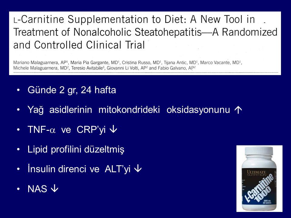 Günde 2 gr, 24 hafta Yağ asidlerinin mitokondrideki oksidasyonunu  TNF-  ve CRP'yi  Lipid profilini düzeltmiş İnsulin direnci ve ALT'yi  NAS 