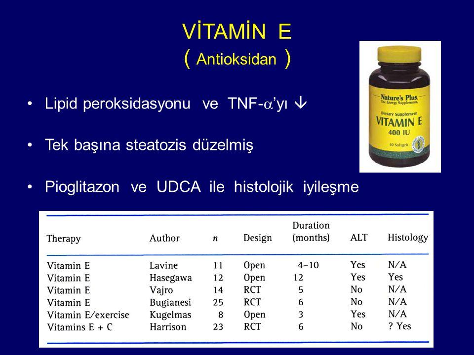 VİTAMİN E ( Antioksidan ) Lipid peroksidasyonu ve TNF-  'yı  Tek başına steatozis düzelmiş Pioglitazon ve UDCA ile histolojik iyileşme