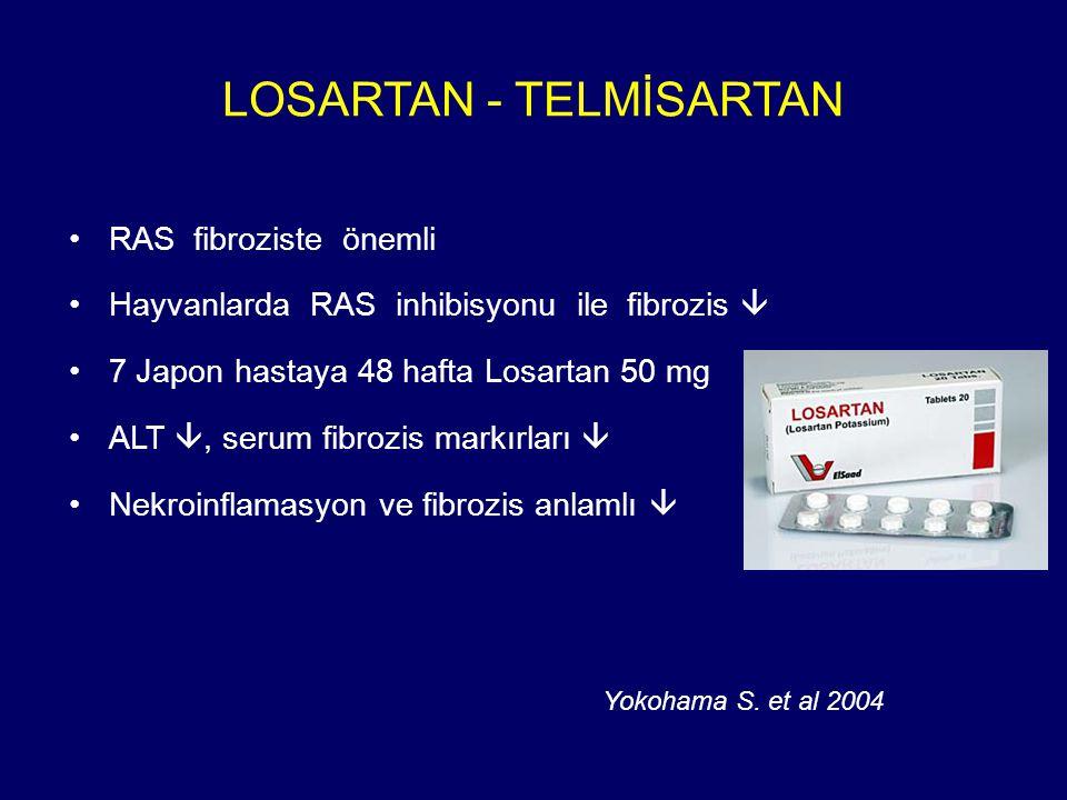 LOSARTAN - TELMİSARTAN RAS fibroziste önemli Hayvanlarda RAS inhibisyonu ile fibrozis  7 Japon hastaya 48 hafta Losartan 50 mg ALT , serum fibrozis markırları  Nekroinflamasyon ve fibrozis anlamlı  Yokohama S.