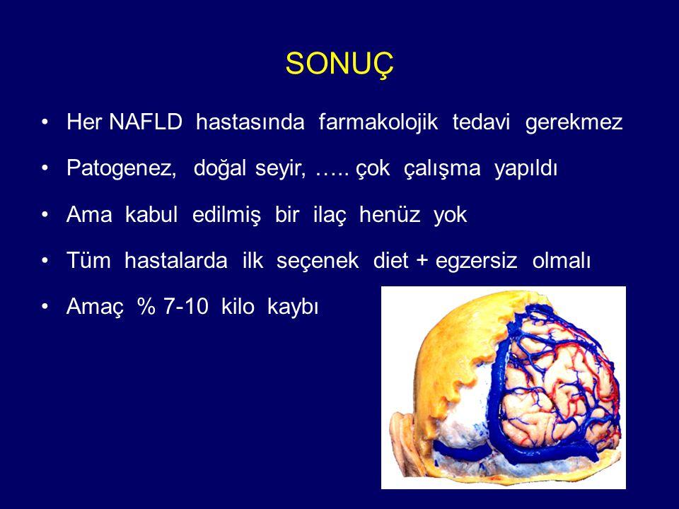 SONUÇ Her NAFLD hastasında farmakolojik tedavi gerekmez Patogenez, doğal seyir, …..