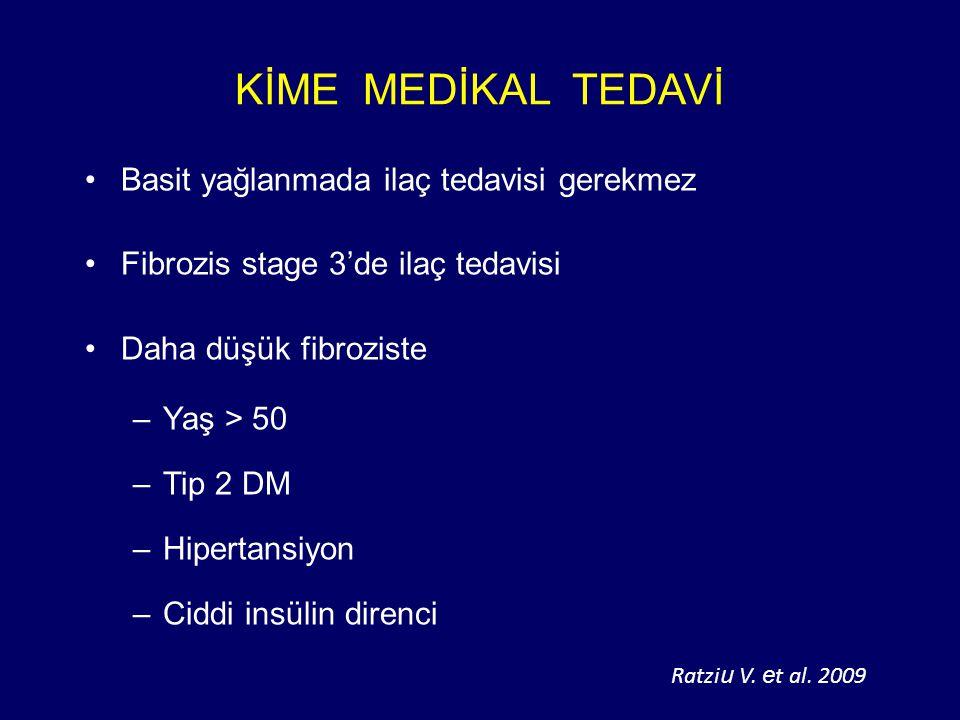 KİME MEDİKAL TEDAVİ Basit yağlanmada ilaç tedavisi gerekmez Fibrozis stage 3'de ilaç tedavisi Daha düşük fibroziste –Yaş > 50 –Tip 2 DM –Hipertansiyon –Ciddi insülin direnci Ratzi u V.