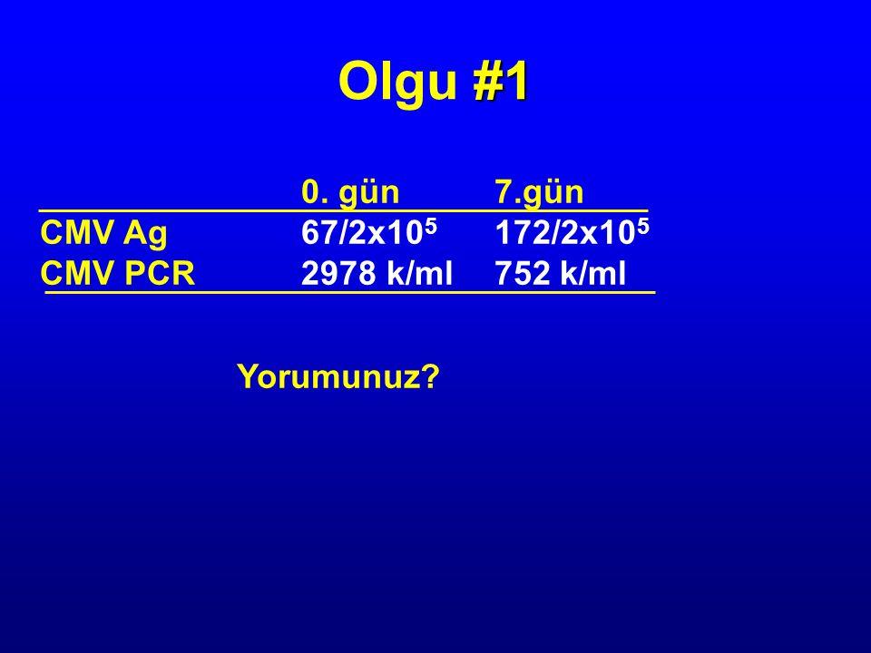 0. gün 7.gün CMV Ag67/2x10 5 172/2x10 5 CMV PCR2978 k/ml 752 k/ml Yorumunuz? #1 Olgu #1