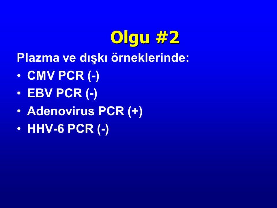 Plazma ve dışkı örneklerinde: CMV PCR (-) EBV PCR (-) Adenovirus PCR (+) HHV-6 PCR (-) Olgu #2