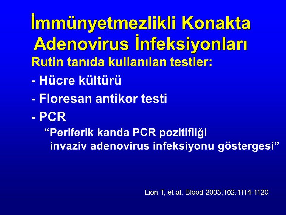 Rutin tanıda kullanılan testler: - Hücre kültürü - Floresan antikor testi - PCR İmmünyetmezlikli Konakta Adenovirus İnfeksiyonları Periferik kanda PCR pozitifliği invaziv adenovirus infeksiyonu göstergesi Lion T, et al.