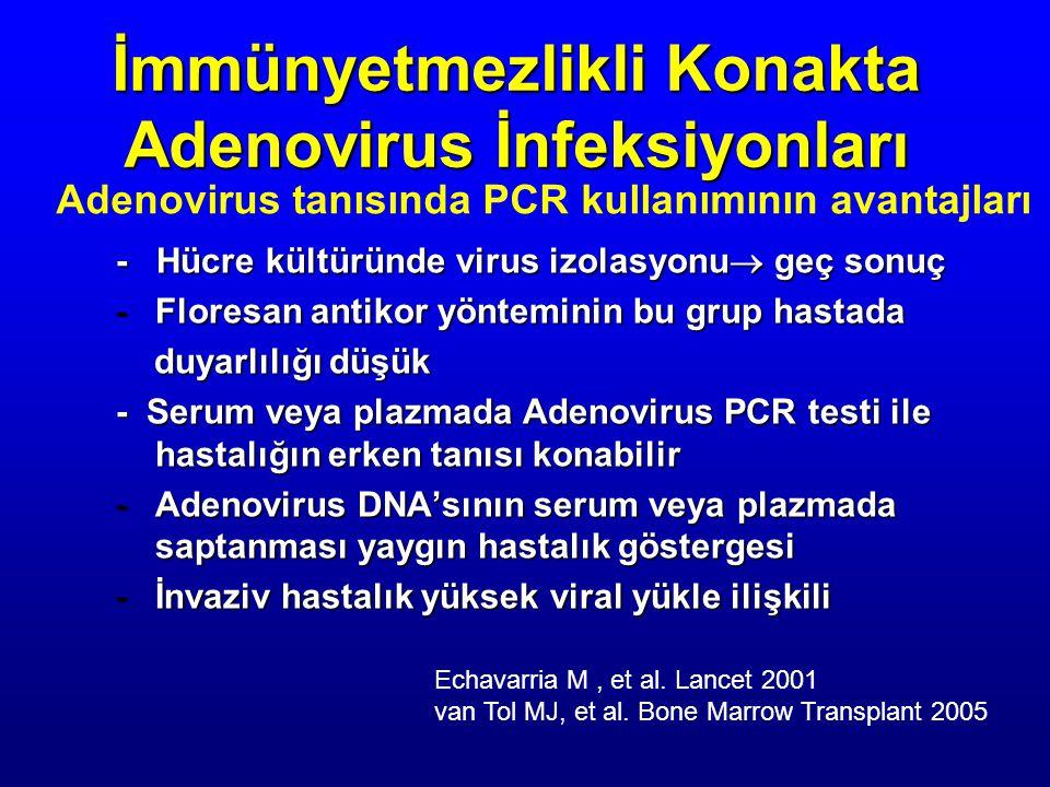- Hücre kültüründe virus izolasyonu  geç sonuç -Floresan antikor yönteminin bu grup hastada duyarlılığı düşük duyarlılığı düşük - Serum veya plazmada Adenovirus PCR testi ile hastalığın erken tanısı konabilir -Adenovirus DNA'sının serum veya plazmada saptanması yaygın hastalık göstergesi -İnvaziv hastalık yüksek viral yükle ilişkili İmmünyetmezlikli Konakta Adenovirus İnfeksiyonları Adenovirus tanısında PCR kullanımının avantajları Echavarria M, et al.