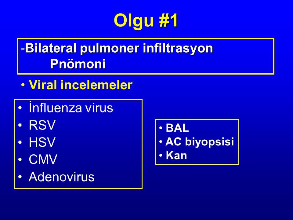 İnfluenza virus RSV HSV CMV Adenovirus Viral incelemeler -Bilateral pulmoner infiltrasyon Pnömoni BAL AC biyopsisi Kan #1 Olgu #1