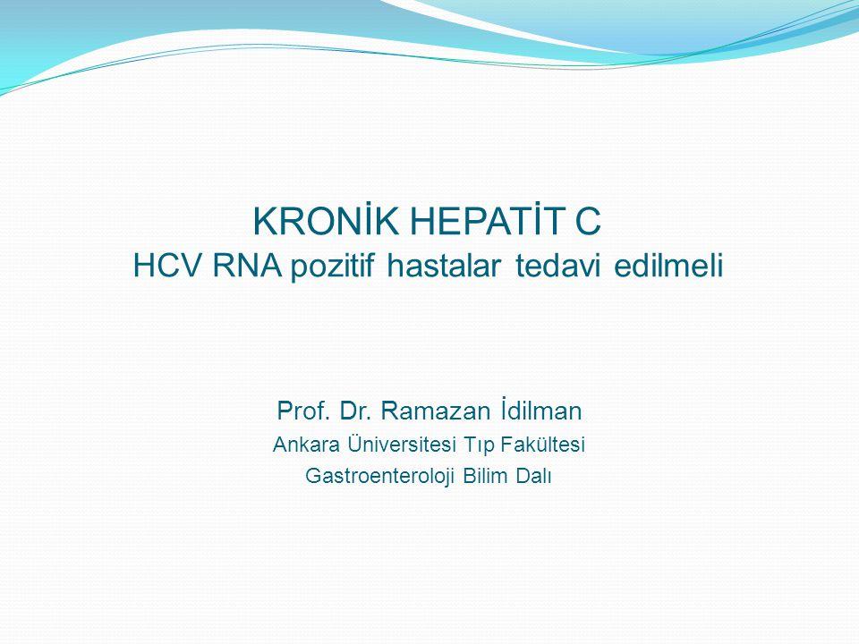 Asemptomatik %75 Asemptomatik %75 Semptomatik %25 Semptomatik %25 Primer infeksiyon Viral Klirens %15-25 Kronik Hepatit C %75-85 Kronik Hepatit C %75-85 Siroz %20 (20-30 yıl) Siroz %20 (20-30 yıl) HCC %1-4 (Sirozdan sonra her yıl) HCC %1-4 (Sirozdan sonra her yıl) Kronik infeksiyon İlerleyici bir hastalık Chen ve Morgan Int J Med Sci 2006