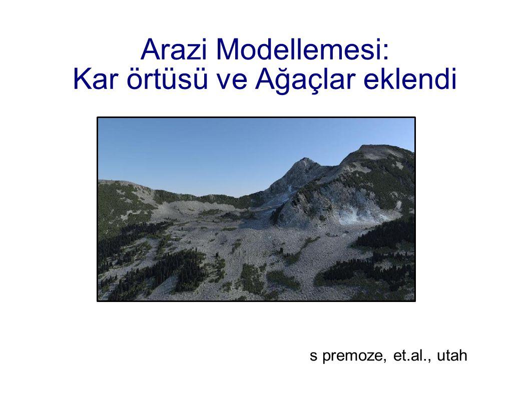 Arazi Modellemesi: Kar örtüsü ve Ağaçlar eklendi s premoze, et.al., utah