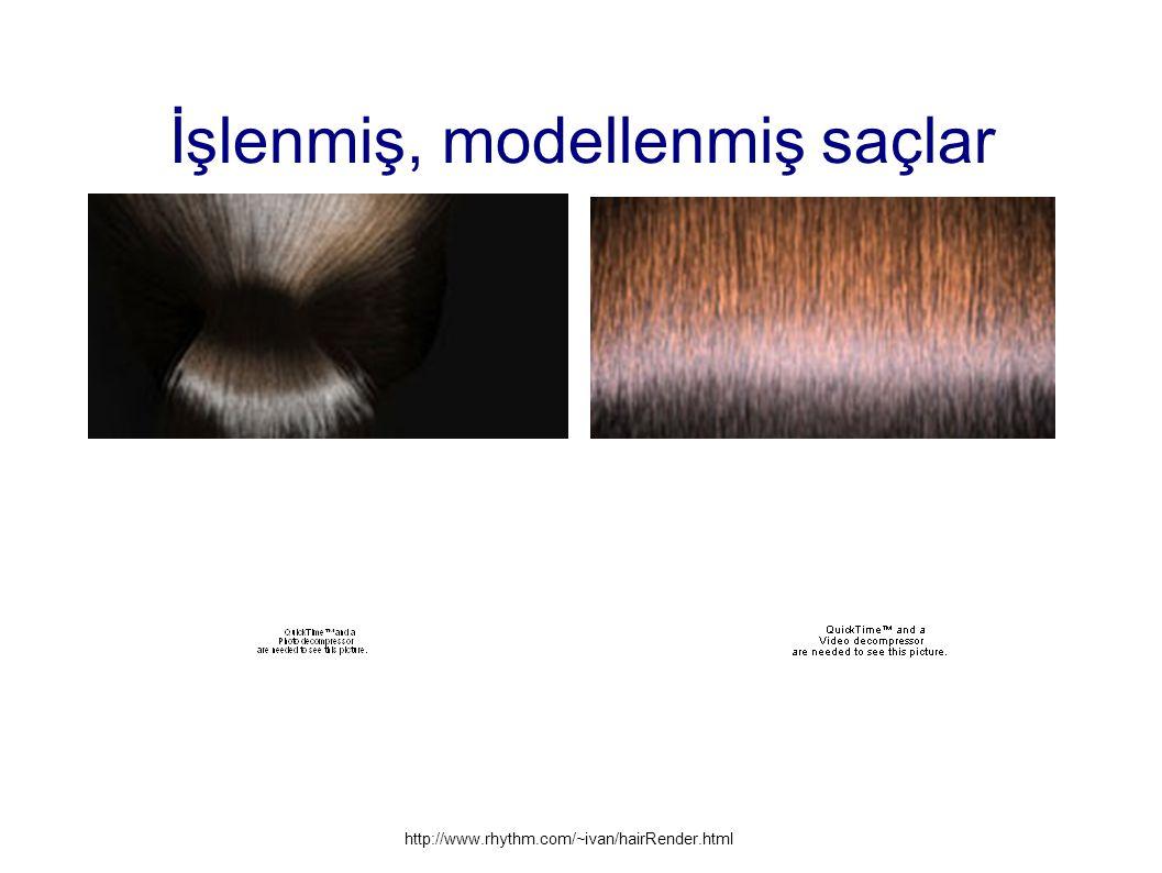 İşlenmiş, modellenmiş saçlar http://www.rhythm.com/~ivan/hairRender.html