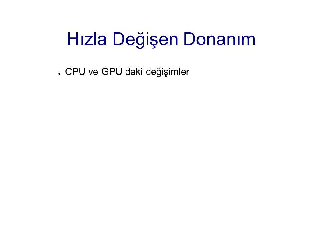 Hızla Değişen Donanım ● CPU ve GPU daki değişimler