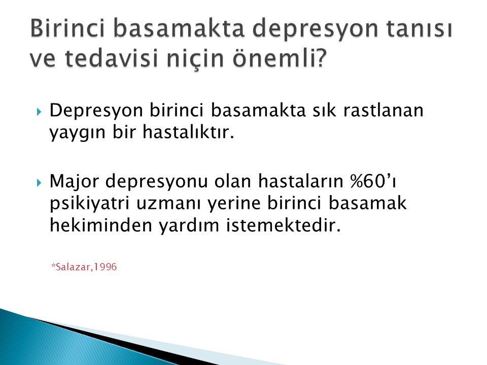  Depresyon birinci basamakta sık rastlanan yaygın bir hastalıktır.  Major depresyonu olan hastaların %60'ı psikiyatri uzmanı yerine birinci basamak