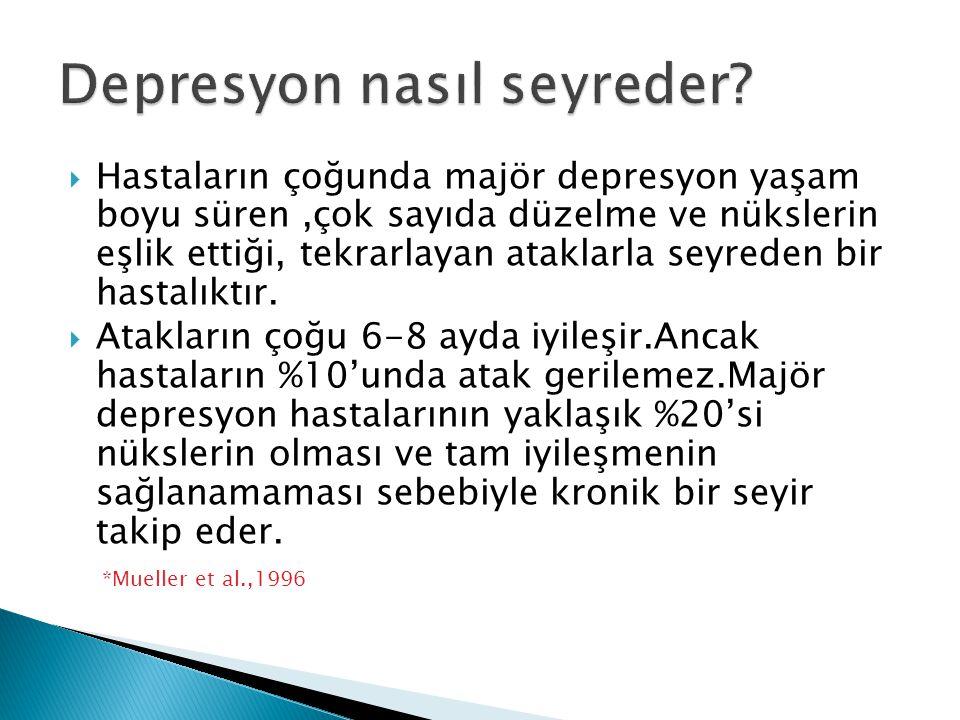  Hastaların çoğunda majör depresyon yaşam boyu süren,çok sayıda düzelme ve nükslerin eşlik ettiği, tekrarlayan ataklarla seyreden bir hastalıktır. 