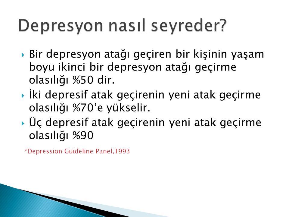  Bir depresyon atağı geçiren bir kişinin yaşam boyu ikinci bir depresyon atağı geçirme olasılığı %50 dir.  İki depresif atak geçirenin yeni atak geç