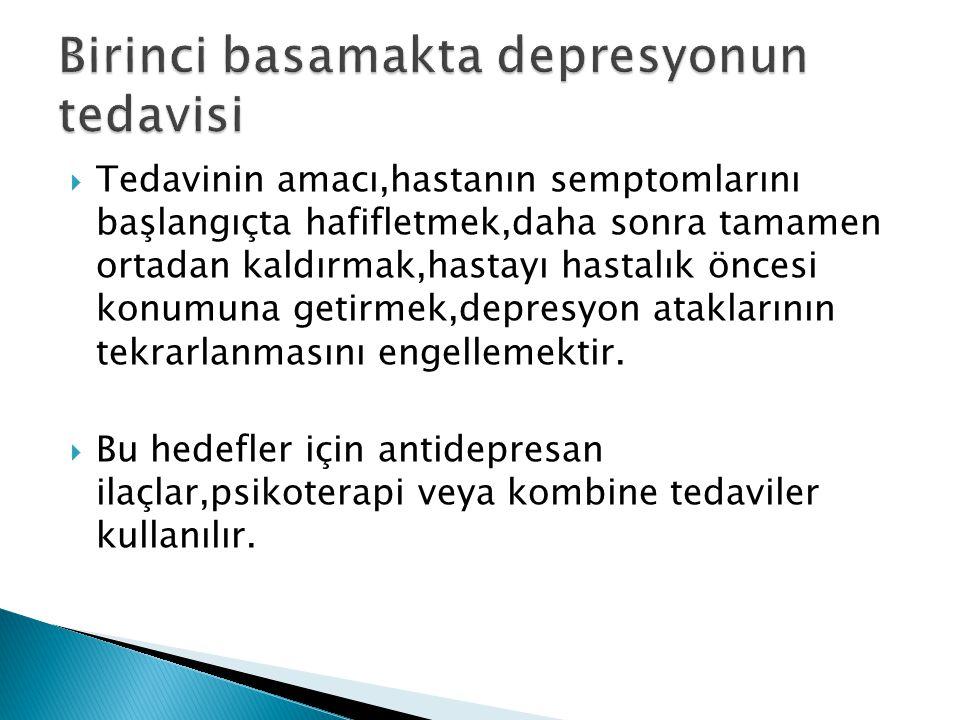  Tedavinin amacı,hastanın semptomlarını başlangıçta hafifletmek,daha sonra tamamen ortadan kaldırmak,hastayı hastalık öncesi konumuna getirmek,depres