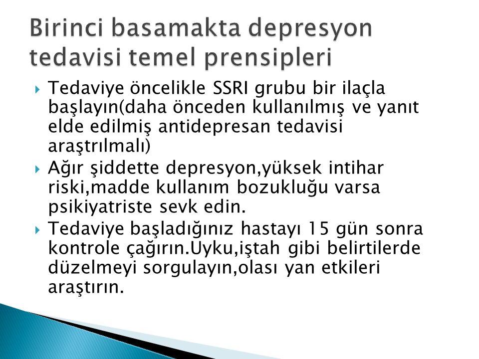  Tedaviye öncelikle SSRI grubu bir ilaçla başlayın(daha önceden kullanılmış ve yanıt elde edilmiş antidepresan tedavisi araştrılmalı)  Ağır şiddette