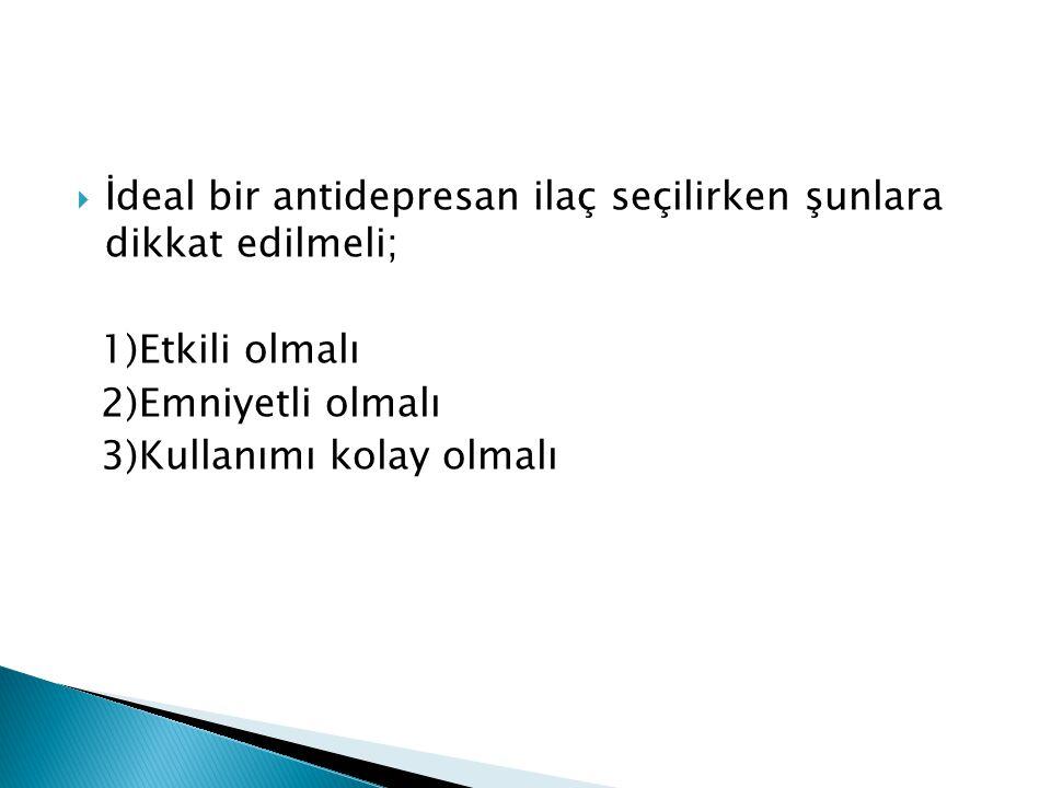  İdeal bir antidepresan ilaç seçilirken şunlara dikkat edilmeli; 1)Etkili olmalı 2)Emniyetli olmalı 3)Kullanımı kolay olmalı