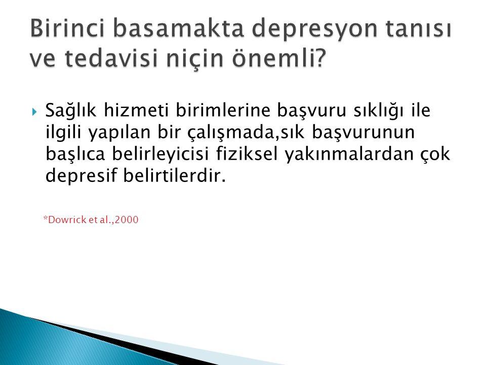  Sağlık hizmeti birimlerine başvuru sıklığı ile ilgili yapılan bir çalışmada,sık başvurunun başlıca belirleyicisi fiziksel yakınmalardan çok depresif
