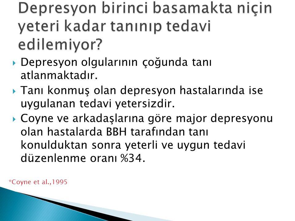  Depresyon olgularının çoğunda tanı atlanmaktadır.  Tanı konmuş olan depresyon hastalarında ise uygulanan tedavi yetersizdir.  Coyne ve arkadaşları