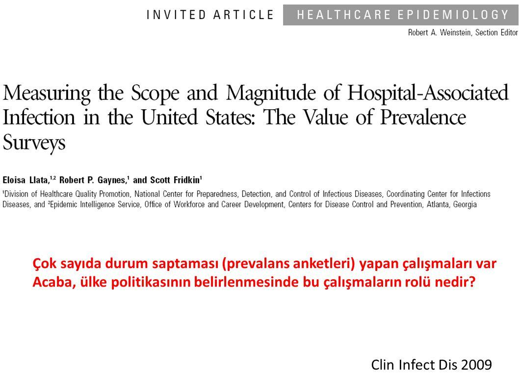 Clin Infect Dis 2009 Çok sayıda durum saptaması (prevalans anketleri) yapan çalışmaları var Acaba, ülke politikasının belirlenmesinde bu çalışmaların rolü nedir?