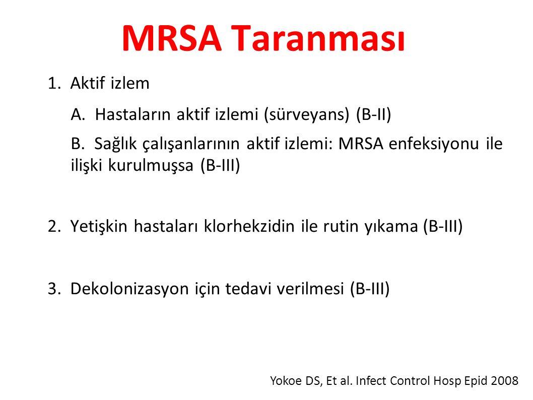 MRSA Taranması ● 1. Aktif izlem – A. Hastaların aktif izlemi (sürveyans) (B-II) – B.
