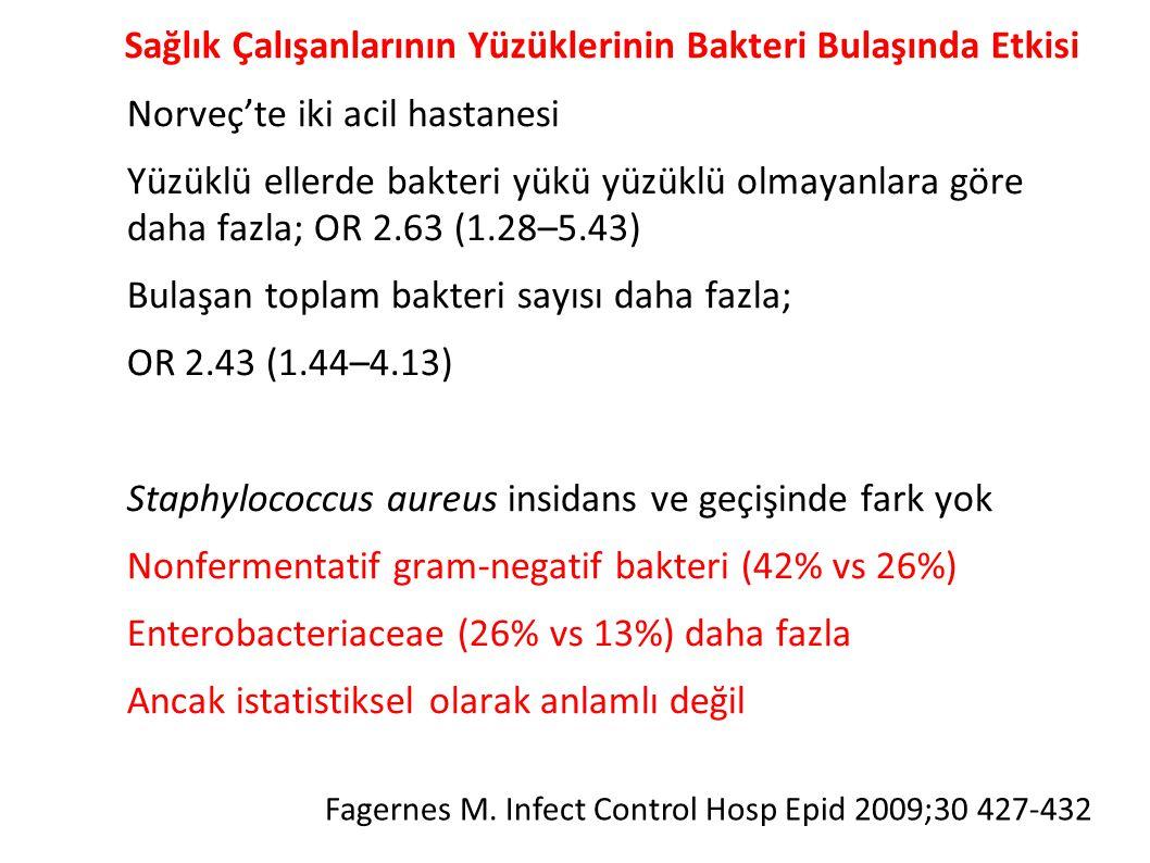 Sağlık Çalışanlarının Yüzüklerinin Bakteri Bulaşında Etkisi ● Norveç'te iki acil hastanesi ● Yüzüklü ellerde bakteri yükü yüzüklü olmayanlara göre daha fazla; OR 2.63 (1.28–5.43) ● Bulaşan toplam bakteri sayısı daha fazla; ● OR 2.43 (1.44–4.13) ● Staphylococcus aureus insidans ve geçişinde fark yok ● Nonfermentatif gram‐negatif bakteri (42% vs 26%) ● Enterobacteriaceae (26% vs 13%) daha fazla ● Ancak istatistiksel olarak anlamlı değil Fagernes M.