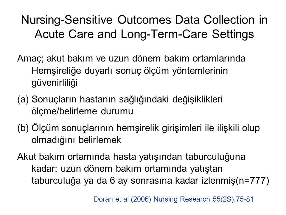 Nursing-Sensitive Outcomes Data Collection in Acute Care and Long-Term-Care Settings Amaç; akut bakım ve uzun dönem bakım ortamlarında Hemşireliğe duy