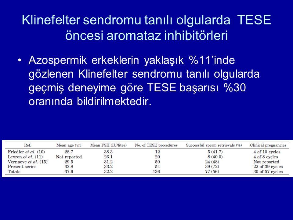 Klinefelter sendromu tanılı olgularda TESE öncesi aromataz inhibitörleri Azospermik erkeklerin yaklaşık %11'inde gözlenen Klinefelter sendromu tanılı