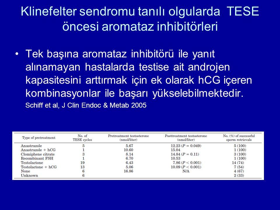 Klinefelter sendromu tanılı olgularda TESE öncesi aromataz inhibitörleri Tek başına aromataz inhibitörü ile yanıt alınamayan hastalarda testise ait an