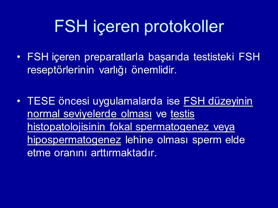 FSH içeren protokoller FSH içeren preparatlarla başarıda testisteki FSH reseptörlerinin varlığı önemlidir. TESE öncesi uygulamalarda ise FSH düzeyinin
