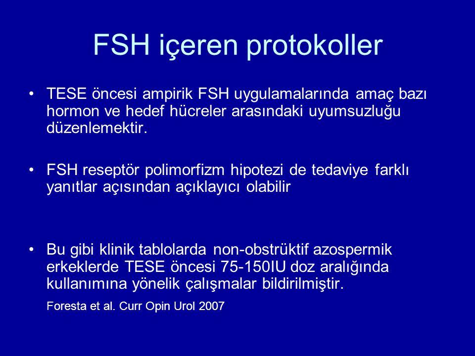 FSH içeren protokoller TESE öncesi ampirik FSH uygulamalarında amaç bazı hormon ve hedef hücreler arasındaki uyumsuzluğu düzenlemektir. FSH reseptör p