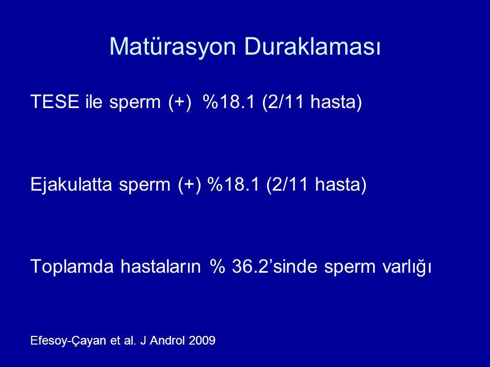 Matürasyon Duraklaması TESE ile sperm (+) %18.1 (2/11 hasta) Ejakulatta sperm (+) %18.1 (2/11 hasta) Toplamda hastaların % 36.2'sinde sperm varlığı Ef