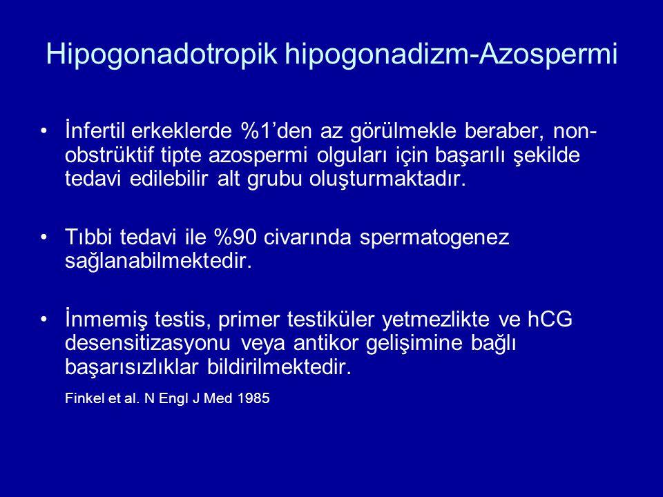Hipogonadotropik hipogonadizm-Azospermi İnfertil erkeklerde %1'den az görülmekle beraber, non- obstrüktif tipte azospermi olguları için başarılı şekil