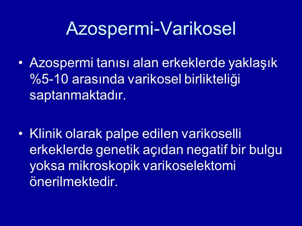 Azospermi-Varikosel Azospermi tanısı alan erkeklerde yaklaşık %5-10 arasında varikosel birlikteliği saptanmaktadır. Klinik olarak palpe edilen varikos