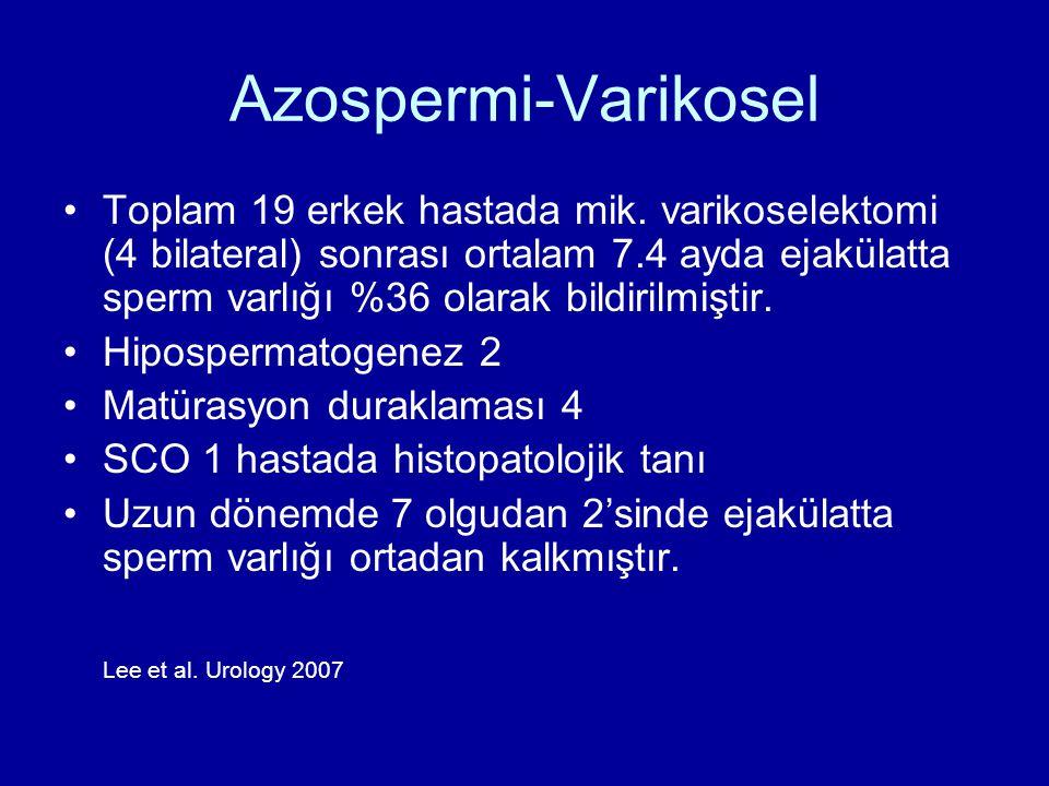 Azospermi-Varikosel Toplam 19 erkek hastada mik. varikoselektomi (4 bilateral) sonrası ortalam 7.4 ayda ejakülatta sperm varlığı %36 olarak bildirilmi